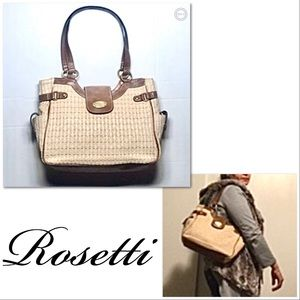 Rosetti Braided Woven Shoulder Bag with Vinyl Trim